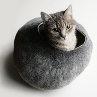 Warm Gray Stone - Hand Felted Wool Cat Bed / Vessel - Crisp Contemporary Design - READY TO SHIP