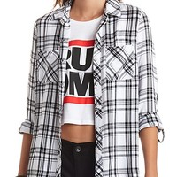 Long Sleeve Plaid Button-Up Top