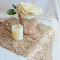 "Sequin Table Runner in Champagne Gold - 12"" Wide by 108"" Long"