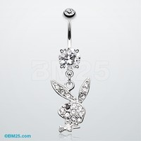Playboy Bunny Dangle Belly Button Ring