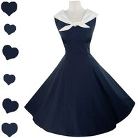 NEW Retro 50s SAILOR Full Skirt Rockabilly Swing Party Dress XS XL Nautical Navy