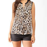 Sleeveless Cheetah Print Shirt