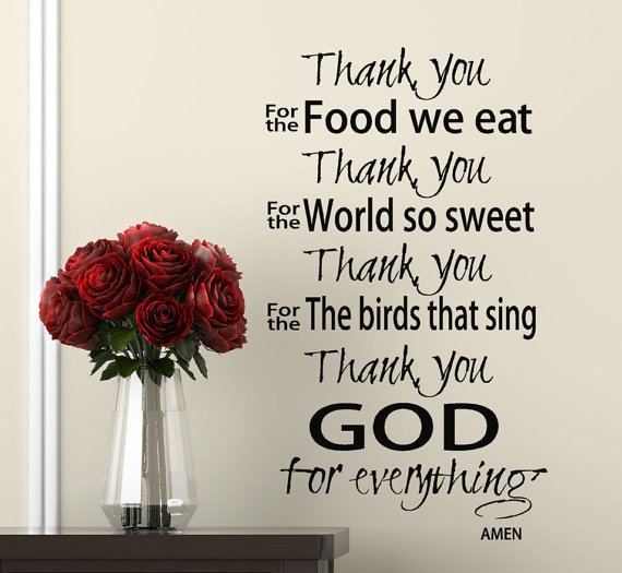 Kitchen Prayer Quotes: Scripture Wall Decal Thank You God Prayer From