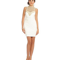 Honey and Rosie Lace Neckline Fitted Dress - Ivory/Gold