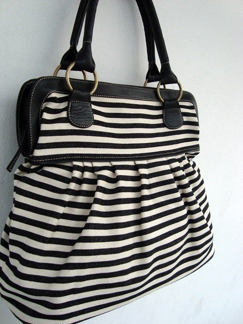 Black white denim handbag
