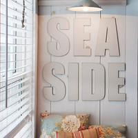 Seaside Canvas Covered Letters, Nautical Decor, Typography, Large Letters, Home Decor, Cottage