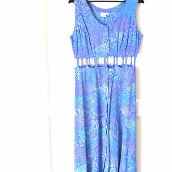 boho hippie dress / SURFER grunge pastel TRIBAL print cut out 80s laid back maxi duster dress