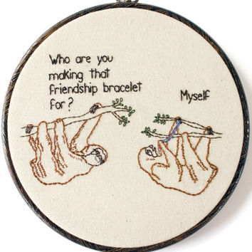 """Friendship Sloths Hand Embroidery - 8"""" Hoop"""