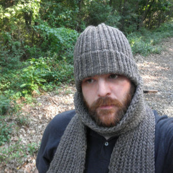 Knit Hat and Scarf Set, Heather Grey, 100% Pure Wool