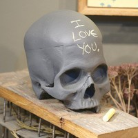 Chalkboard Skull in Steely Gray by iamhome