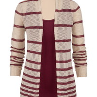 Open stitch striped cardiwrap