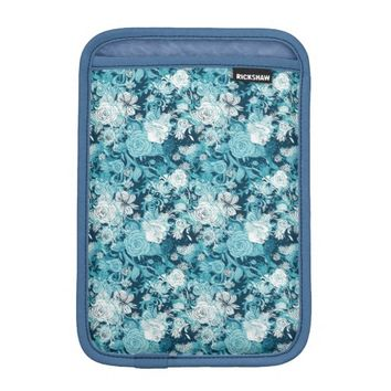 Blue Floral print on Blue iPad Mini Sleeve