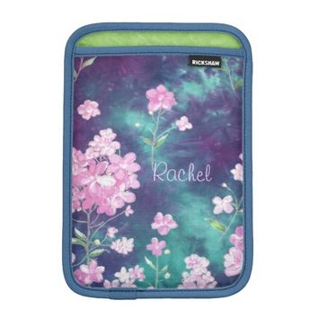 Pink Floral on Blue iPad Mini Sleeve