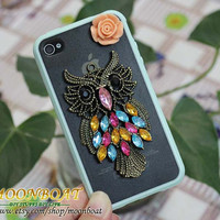 Soft Glue Case With Antique Brass Owl, Flower For iPhone 4 Case,iPhone 4 Cover, iPhone 4g cases,iPhone 4 Apple,,iPhone 4s mb555