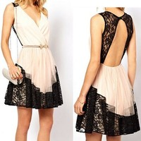 Women's White V Neck Lace Dress with Cut Out Back 051312 0826J