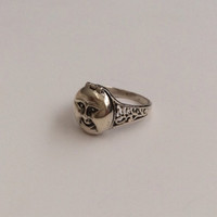 Vintage Sterling Silver Moon Face Poison Pill Ring