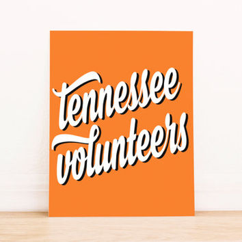 Tennessee Vols Art PrintableTypography Poster Dorm Decor Apartment Art Home Decor Office Poster