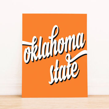 Oklahoma State Art PrintableTypography Poster Dorm Decor Apartment Art Home Decor Office Poster