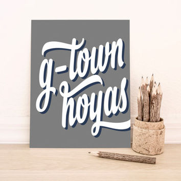 Georgetown Hoyas Art PrintableTypography Poster Dorm Decor Home Decor Office Decor Poster