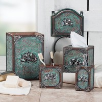 Tooled Turquoise and Rose Bath Set Collection