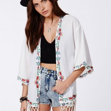 Missguided - Natty Premium Floral Embroidered Kimono With Fringe Detail