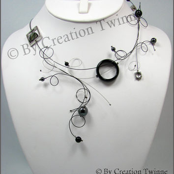 black swirls necklace, funky designs jewel,unique handmade jewelry, cool fun necklace,wedding jewelry, bridesmaids gifts, mothers days gift