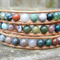 Beaded Leather Wrap Bracelet 3 Wrap with Earthy Mixed Green Rainbow Fancy Jade Gemstone Beads on Natural Tan Leather