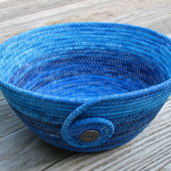 Blue Ombre Coiled Fabric Basket Bowl