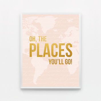 Oh the Places You'll Go Map Nursery Art Oh the Places You Will Go Print Baby Nursery Decor -…