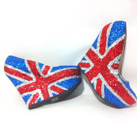 Glitter Union Jack Wedge Pumps - On Sale