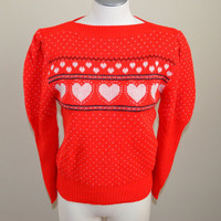 Vtg 80s Red Knit Pullover Heart Sweater S