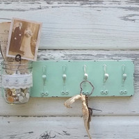 Chic Mint Green..Jar Vase...Jewelry or Key Hooks