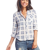 Long-Sleeve Plaid Button-Up | Wet Seal