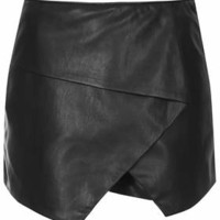 PU Asymmetric Wrap Skort - Black