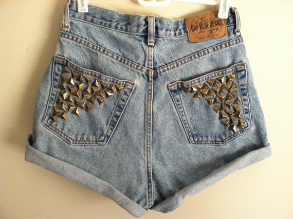 pyramid studded cuffed shorts