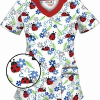 Lady Bug Charm Scallop Neck Scrub Top