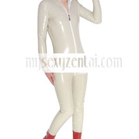Catsuits & Zentai Front Open Cream Color Shiny PVC Catsuit [TXL142] - $36.99