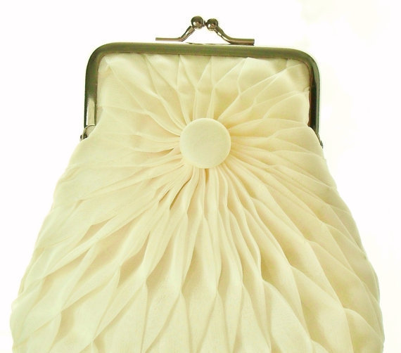 Ivory Chiffon Button Purse - Size Small - Ready To Ship