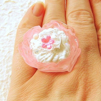 Kawaii Ring Miniature Food Jewelry Pink Flower Ice Cream CIJ Christmasinjuly