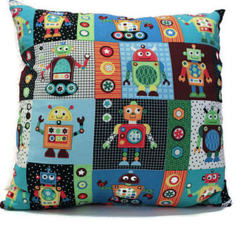 Pillow Cover- Toy Robot Fabric Pattern- Child's Room Decor- Red Canvas Backing- Accent…