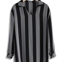 Breezy Striped V-neck Blouse in Black Black S/M