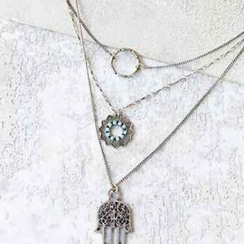 Hamsa Layered Necklace - Urban Outfitters