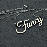 Fancy necklace - handsawn - wordplate necklace - sterling chain - kitsch