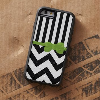 Ribbon, Bow, Zigzag, Stripes - White Black Green