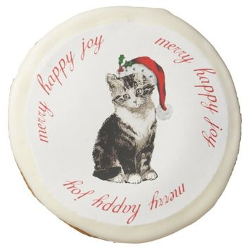 Vintage Santa Kitty Christmas Cookie