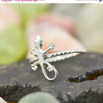 Labor Day Sale Gecko Ring - Stacker Ring - Lizard Ring - Gecko Jewelry - Silver Lizard - Lizard Jewelry - Silver Gecko