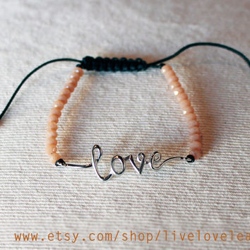 Love bracelet, Beigh faceted beads and silver cursive love adjustable string bracelet, pull string, stackable, onyx, christmas gift ideas