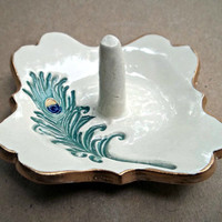 Ceramic  Ring Holder with peacock feather