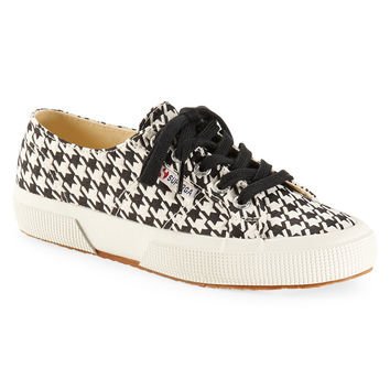 Superga Womens Superga Houndstooth Low-Top Sneakers - Black/White,