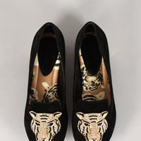 Mandy Tiger Ornament Round Toe Loafer Flat